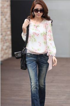 Blusa de Gasa y Poliéster de Cuello redondo de Flor de impresión de Estilo Casual para las mujeres (SKY BLUE,Un tamaño)   Sammydress.com