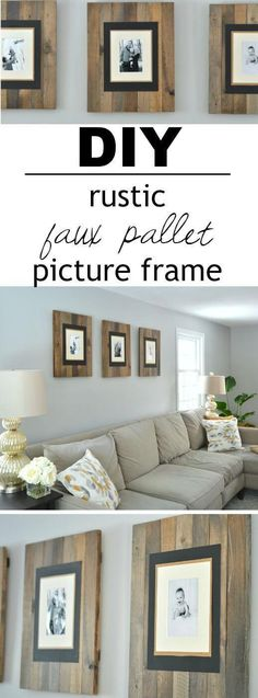 Faux Distressed Pallet Wood Frame Trio