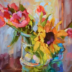 "Daily Paintworks - ""Spring Faces"" - Original Fine Art for Sale - © Dreama Tolle Perry Art Aquarelle, Watercolor Art, Wall Art Prints, Fine Art Prints, Framed Prints, Canvas Prints, Selling Paintings, Sunflower Art, Arte Floral"