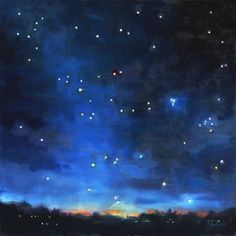 """""""Oil Painting of the Night Sky: Seven Sisters"""" - Original Fine Art for Sale - © Deb Anderson"""