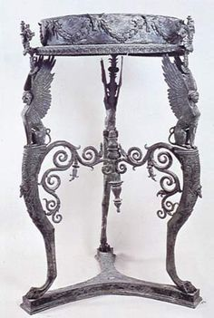 Bronze Roman Table or Stand with circular top from the Temple of Isis at Pompeii. #ancientgreekarchitecture