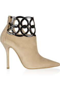 Oscar de la Renta|Primavera cutout-cuff suede ankle boots|NET-A-PORTER.COM