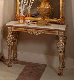 Style and glamour for any setting with the Ornate Louis XVI side table. Shown here finished in a rustic gold leaf finish with marble top, wooden or glass tops are also available. Made to a world class standard being carved from solid beech wood and painted by artisans to create that original Louis look. Also available to order in alternative colours, sizes and finishes on request. Prices will vary. Classic Furniture, Luxury Furniture, Louis Xvi, Marble Top, Furniture Collection, Gold Leaf, Entryway Tables, Alternative, It Is Finished