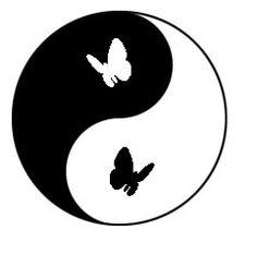 Yin-Yang: Taijitsu with butterflies as the dot elements. From: www.aspenyogamats.com
