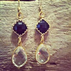 Jet Black and Crystal Quartz Earrings by MariahBennett on Etsy, $60.00