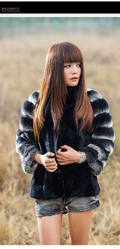 New Real 100% Rex Rabbit Fur Women Coat Jacket Overcoat Garment