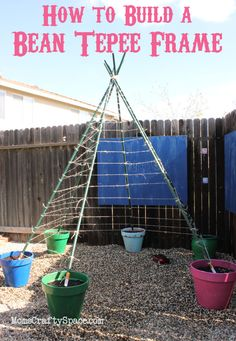 """Building a green bean tepee has been on my gardening to-do list for the past few years, but for some reason or another it's always the project that gets pushed aside for something more urgent, and I inevitably find myself too late in the season to start it.  I was determined not to let that"