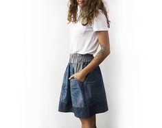 Blue skirt linen skirt skirt with pockets a line skirt