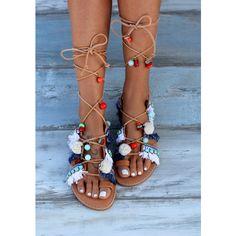 Tie Up Gladiator Sandals Greek Sandals Pom Pom Sandals Boho Sandals... (€185) ❤ liked on Polyvore featuring shoes, sandals, gladiator & strappy sandals, grey, women's shoes, leather sandals, strap sandals, leather gladiator sandals, gladiator sandals and fringe sandals