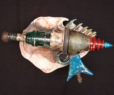 Blish Mesotron Raku Ray Gun Ceramic Sculpture by Rakumancy