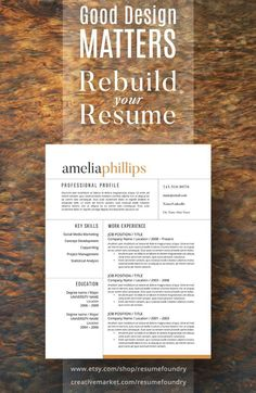 Stand out from the competition with this best selling rsum modern resume template the amelia pronofoot35fo Images