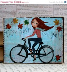 Etsy holiday sale Bicycle Mixed Media Wall Art by HRushtonArt, $8.00