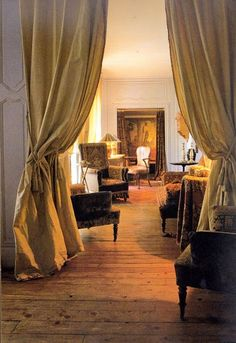 Parisian apartment {From Taschen's Paris Interiors book. Doorway Curtain, Room Divider Curtain, Door Curtains, Room Dividers, Parisian Apartment, Paris Apartments, French Interior, Interior Design, Living Room Divider