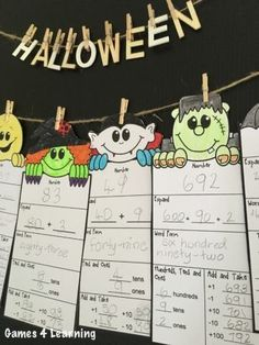 Halloween Math Friends with place value, addition, subtraction, multiplication, division and more. Makes a great Halloween math display and sooooo cute too! $