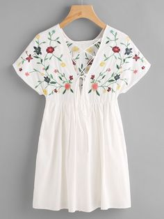 Shop Lace Up Back Embroidery Smock Dress online. SheIn offers Lace Up Back Embroidery Smock Dress & more to fit your fashionable needs.