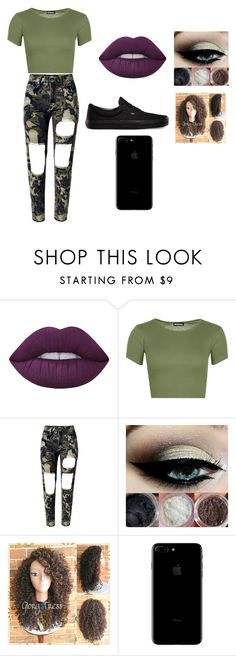 """Camo Day"" by laijah ❤ liked on Polyvore featuring Lime Crime, WearAll, WithChic and Vans"
