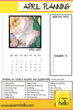 Here is a free downloadable printable Planning Calendar for APRIL so that you can enjoy each of the month! I've listed some holidays that piqued my interest for the month! Yes, I left some out, its true. Just about all … Continue reading →