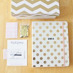 Gold and blush pink <3 Lovey Dovey Darling Pretty Packaging - Kate Spade Agenda, Target Chevron Box, Calligraphy Stationary