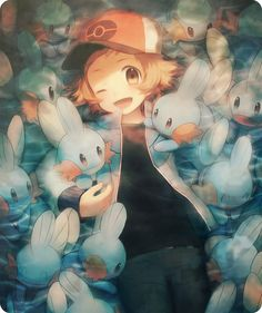 Pokemon trainer with Mudkip. Black Pokemon, All Pokemon, Pokemon Fan, Cute Pokemon, Pokemon Chart, Mudkip, Pokemon Special, Pokemon Images, Another Anime
