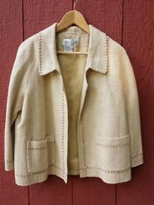 WORTH-Tan-Beige-Cotton-Rayon-Blend-Stitched-Blazer-Suit-Jacket-Open-Front-Sz-10