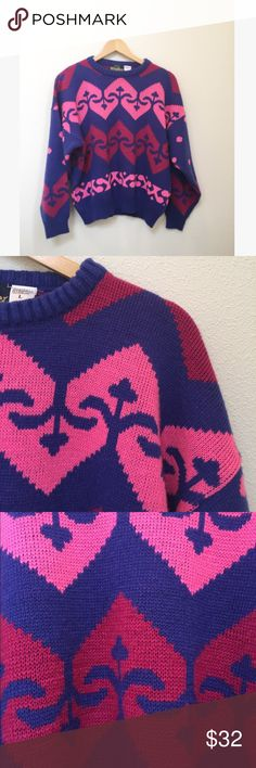 "Vintage Heart Violet Valentines Boyfriend Sweater Vintage heart print boyfriend style sweater by Weather Breaker. Perfect for Valentine's Day. Ultraviolet with pink heart pattern. Super soft acrylic with crew neck. Great condition with light pilling. Size large. Very cute oversized on a S/XS as well.   Approximately 23"" long, 24"" pit to pit, 17.5"" sleeves.   No trades, offers welcome! Vintage Sweaters Crew & Scoop Necks"