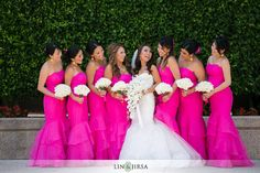 Hot Pink and White wedding \\ Photo Credit: Lin and Jirsa Photography #hotpinkwedding #bridesmaids #whitebouquet