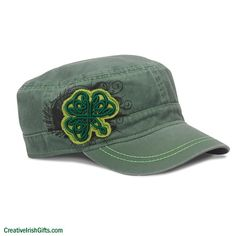 Celtic Shamrock Military Cap  Show your true spirit in this trendy military-style hat adorned with a frayed fabric patch and embroidery Shamrock on top of print pattern. Pigment dyed twill with adjustable hook and loop closure.  Cover your head with some Irish style and fashion while wearing this shamrock cap!  #Irish #IrishGifts #Ireland #Celtic