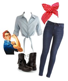 """Rosie the Riveter Interpitation"" by robynlaugh ❤ liked on Polyvore featuring bandana combat boots denim"