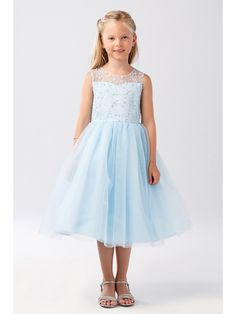 803ab7493ce Tip Top Kids 5727 Blue Illusion Neckline Dress w  Heart Keyhole Back