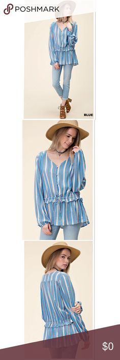FALL STAPLE BOHO STRIPED PEASANT TOP Adorable boho style striped top, perfect for fall. It's a combo of light blue, white and pink. The pink is more vibrant than in stock photo. Boutique Tops Blouses