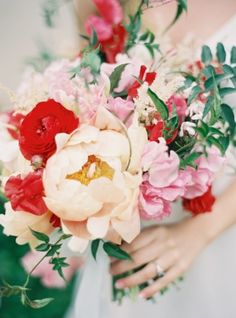 red, pink, and ivory bouquet photographed by Jen Huang