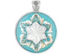 White Mother-of-pearl, Blue Resin And Multi-color Shell Sterling Silver Pendant