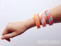 Have you ever tried hama beads, aka perler beads? Learn how to make a perler bead bracelet in this tutorial. Easy and fun for adults or kids. Perler Bead Designs, Diy Perler Bead Crafts, Diy Perler Beads, Kids Crafts, Kids Diy, Easy Crafts, Melting Beads, Fuse Beads, How To Make Beads