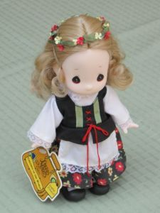 """Precious Moments had an awesome 9"""" doll collection called """"Children of the World"""". I have this one- Sophie from Poland."""