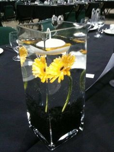 Superhero symbol on two sides of vase. Gravel, fliers and maybe tinted water to match. Table ryunner of superhero color. Black table cloth, yellow and grey napkins. Comic confetti heart shaped. Candles on table or floating in vase or in wine glasses