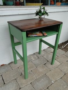 old wooden school desk in green ith darker stained top. Modern Vintage
