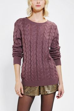 Pins And Needles Classic Cable-Knit Sweater