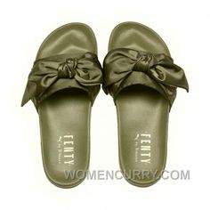 02ff86d50f4 Puma X Fenty Bow Slide Olive Branch-Puma Silver Women Sandals Number  365774-01 New Style