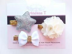 White/Gold Hair Clip Set, Baby Ivory Chiffon Flower/Silver Star/ White Mini Bow Hair Clip, Gold Glitter Hair Clip Set, Toddler Hair Clip on Etsy, $11.90