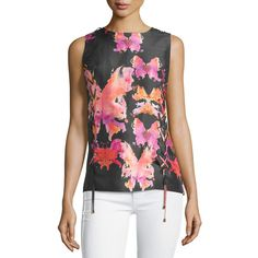 See by Chloe Watercolor-Butterfly Sleeveless Blouse ($240) ❤ liked on Polyvore featuring tops, blouses, black, see by chloé, silk top, butterfly print top, butterfly print blouse and lace up front top