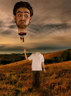 man with a hot head gets transformed into a hot air balloon to show a true altered perspective
