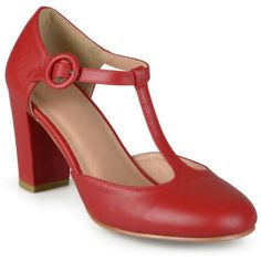 Brinley Co. Women's T-strap Chunky Heel Round Toe Classic Matte Pumps, Size: 7, Red