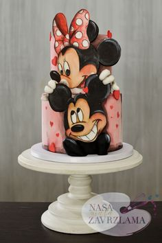 Bolo Do Mickey Mouse, Mickey And Minnie Cake, Bolo Minnie, Minnie Mouse Birthday Cakes, Mickey Cakes, Birthday Cake Girls, Baby Boy Cakes, Girl Cakes, Mini Mouse Cake