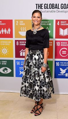 Victoria, Crown Princess of Sweden attends 2016 Global Goals Awards Dinner at Gustavino's on September 20, 2016 in New York City.