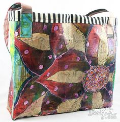 This bag is made from 4 canvas hand painted by the artist.