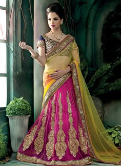 Fabulous Embroidered and Patch Border Net Pink and Yellow Lehenga Saree www.ethnicoutfits.com Product Code : (4796) Email : support@ethnicoutfits.com What's app : +918141377746 Call : +918140714515