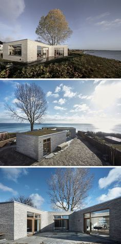 19 Examples Of Modern Scandinavian House Designs | Light stone bricks, a green roof, and large windows give this waterfront home a simple yet timeless exterior.