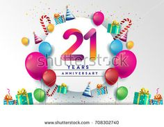 21st years Anniversary Celebration Design with balloons and gift box, Colorful design elements for banner and invitation card.