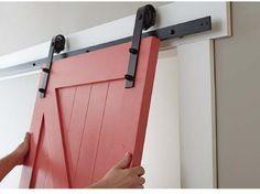 Easy Barn Door Paint and Install Hanging Barn Door on Track - Door Home Design Diy, Küchen Design, Door Design, Exterior Design, Barn Door Track, Diy Barn Door, Barn Door Hardware, Exterior Sliding Barn Doors, Interior Barn Doors