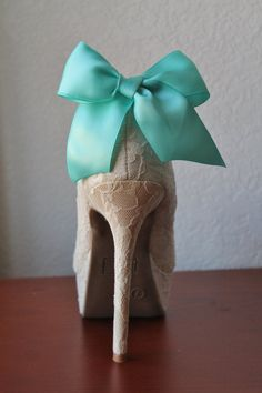 Tiffany Blue Ribbon Bow Shoe Clips 1 Pair by JewelrybyAshNicole